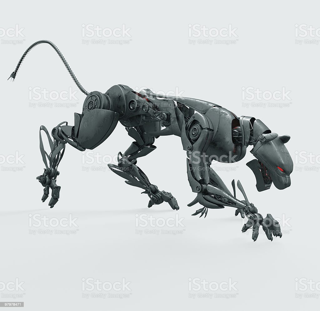 Agressive metal cyborg panther royalty-free stock photo