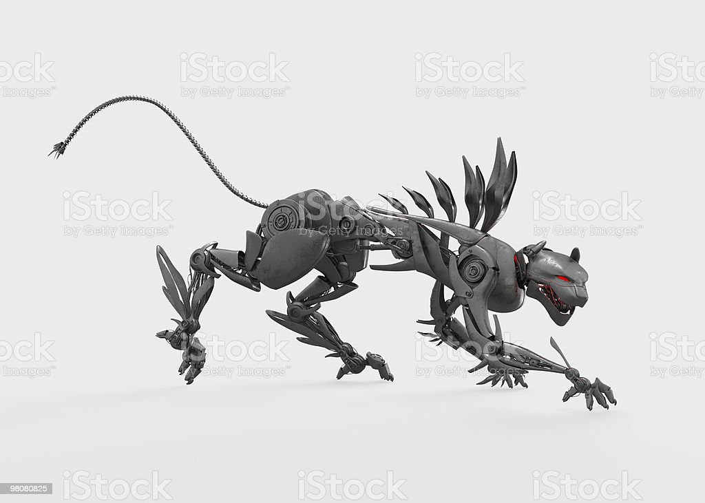 Agressive metal nano panther steals royalty-free stock photo