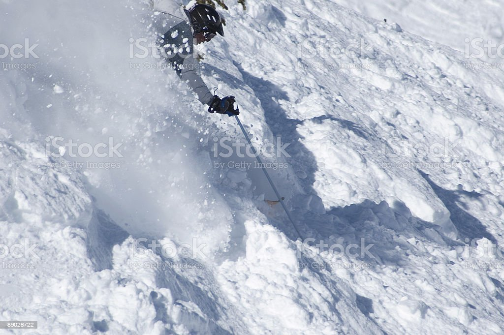Agressive skiing in the powder royalty-free stock photo