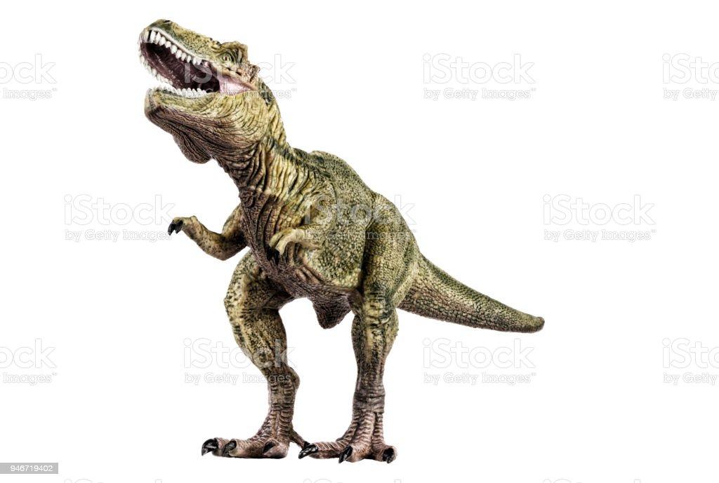 Agressive tyrannosaurus rex dinosaur plastic toy. stock photo