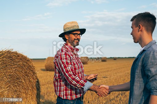 workers handshake on wheat field