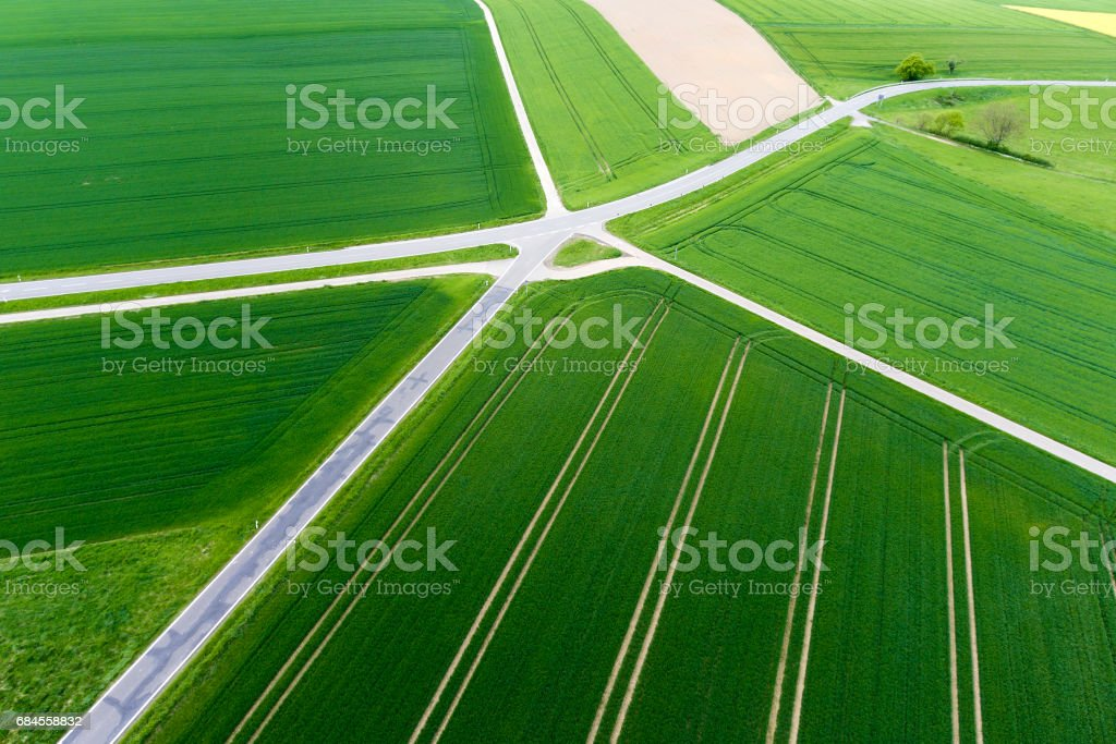 Agricultural area and thoroughfare - aerial view stock photo