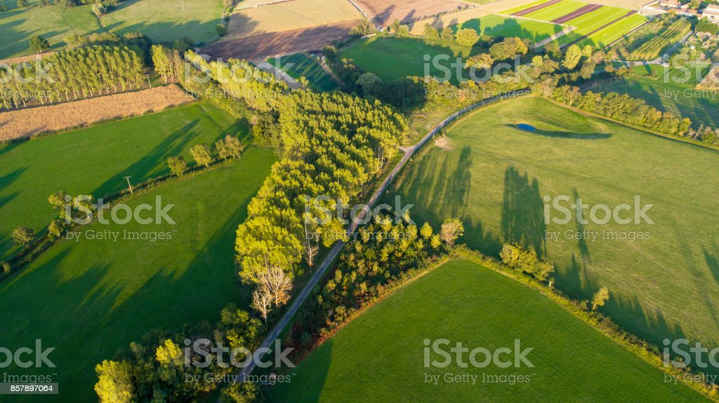 Agricultural area at dusk - aerial view stock photo