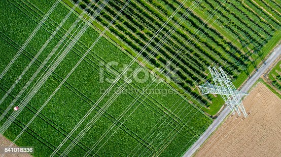 Agricultural area, fields and transmission lines - aerial view