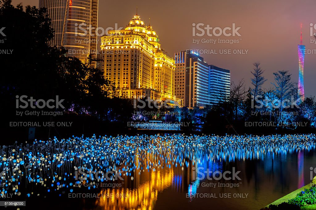 Agricultural Bank of China Building,night, light , Canton Tower,Guangzhou stock photo