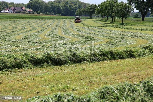 Agricultural field with a tractor equipped with a hay tedder wheeling around the grass to dry
