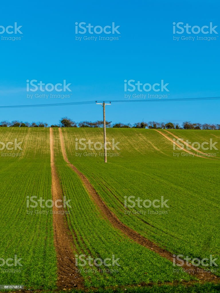 Agricultural field with Power line running through stock photo