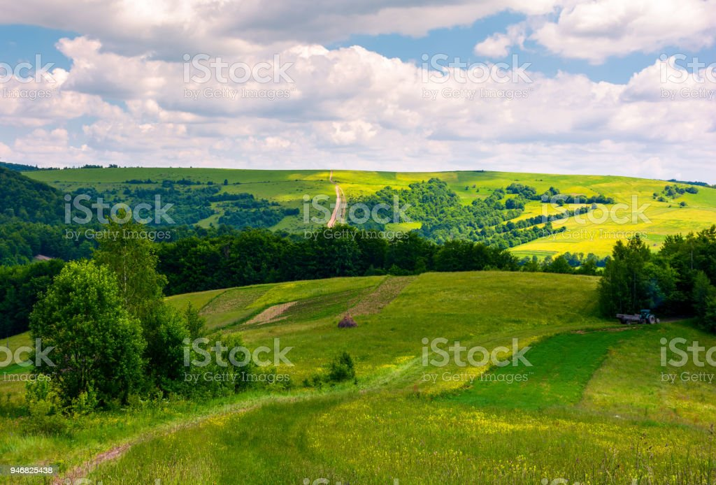 agricultural fields on hills stock photo