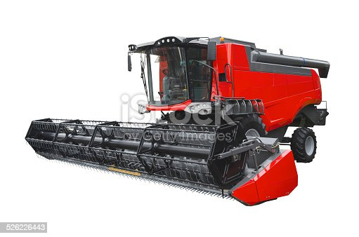Agricultural harvester isolated on a white background