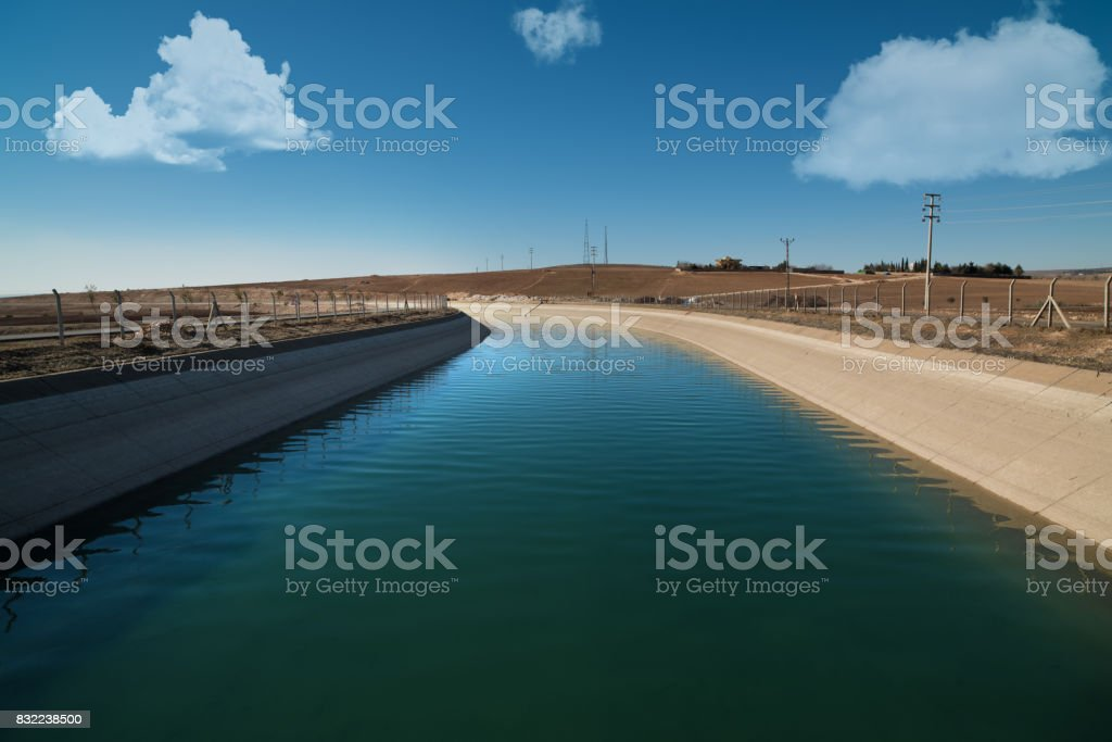 Agricultural irrigation channel stock photo