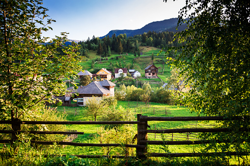 istock Agricultural landscape and village of Borsa in Maramures, Romania 843325878