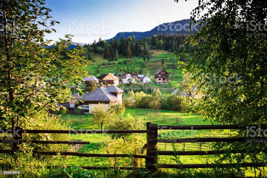 Agricultural landscape and village of Borsa in Maramures, Romania stock photo