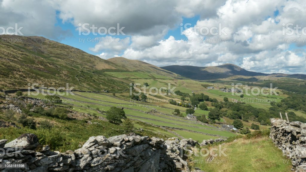 Agricultural landscape north east of Barmouth (Snowdonia, Wales, United Kingdom) stock photo