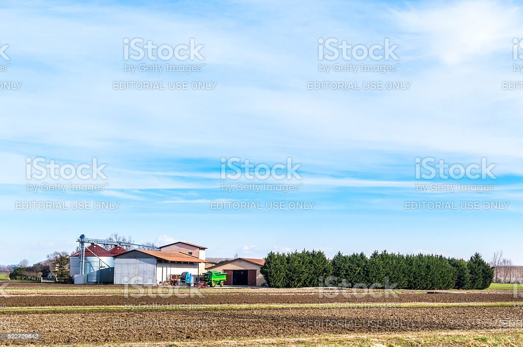Agricultural Landscape with farm stock photo