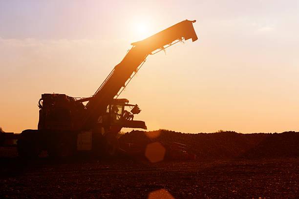 agricultural machinery in the sunset - zuccherificio foto e immagini stock