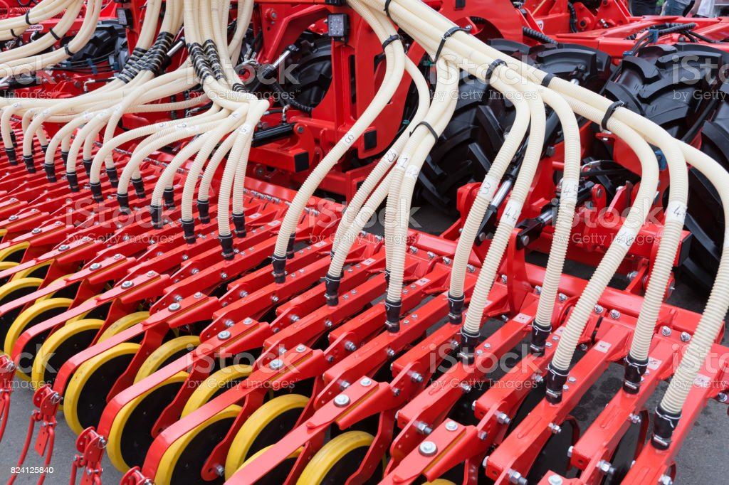 Agricultural machinery, seeder stock photo