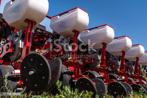 Agricultural seeding machine close up