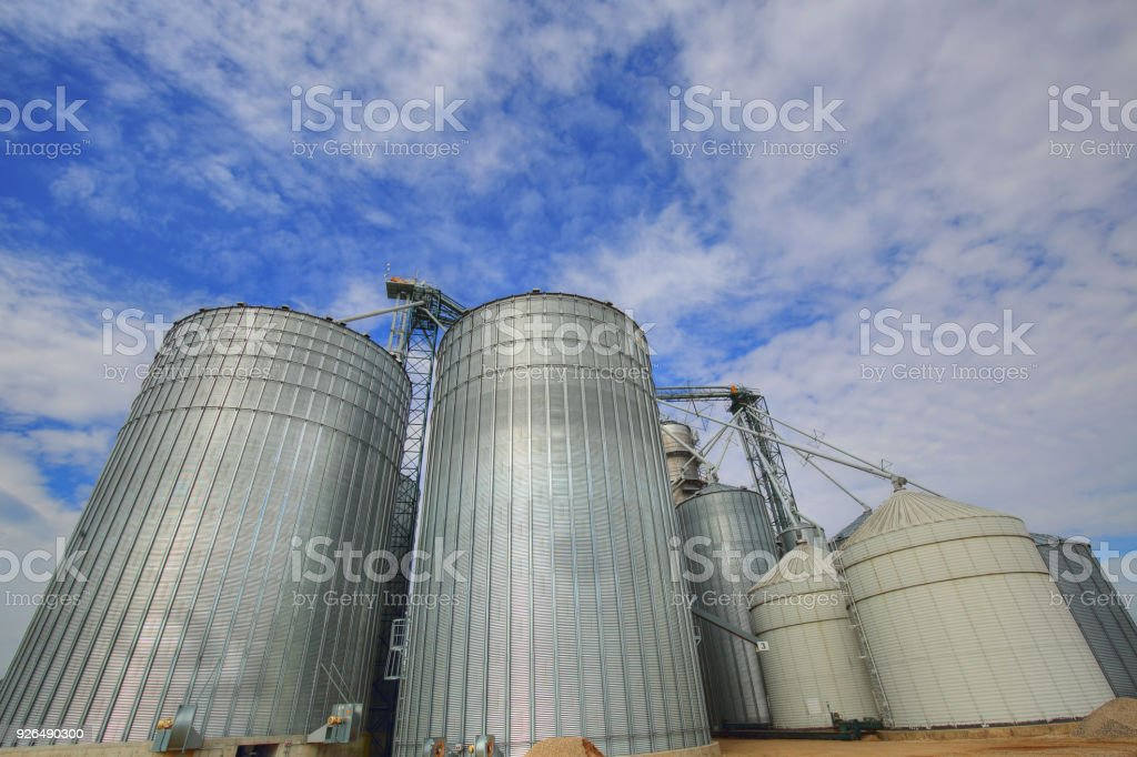 Agricultural Silos in Ontario, Canada stock photo