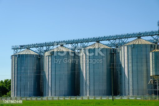 Agricultural Silos. Storage and drying of grains, wheat, corn. Harvesting.