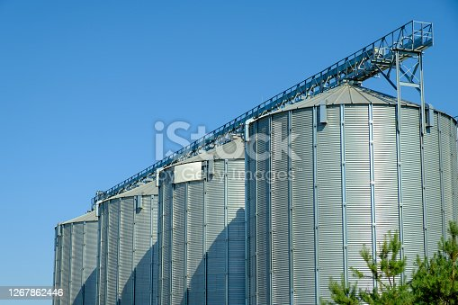 Agricultural Silos. Storage tanks agricultural crops processing plant. Agribusiness concept.