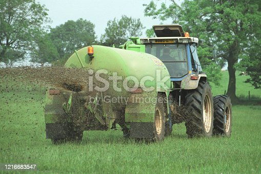 Agricultural slurry spreading in a field in England, United Kingdom
