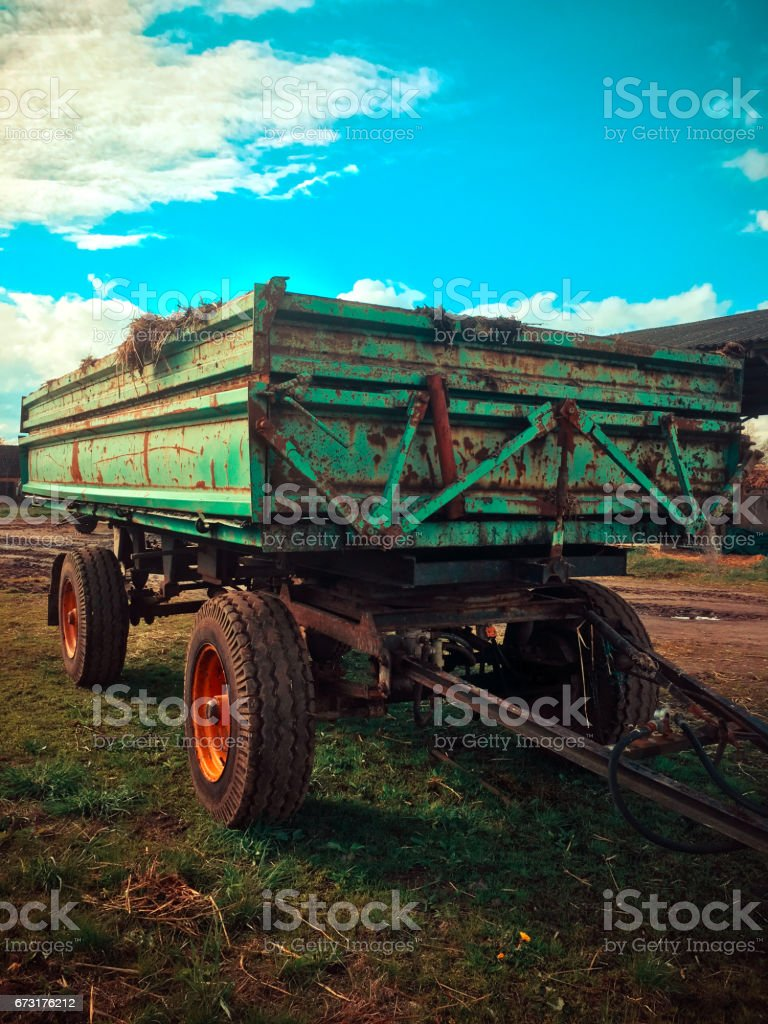 agricultural trailer stock photo
