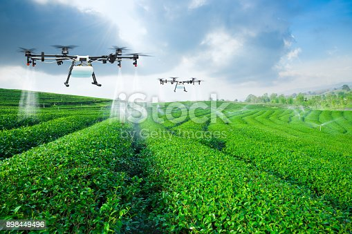 istock Agriculture drone fly to sprayed fertilizer on the green tea fie 898449496