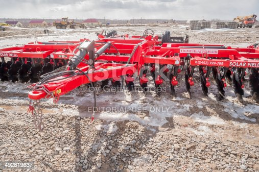 171320236 istock photo Agriculture equipment for tractor on exhibition 492819637