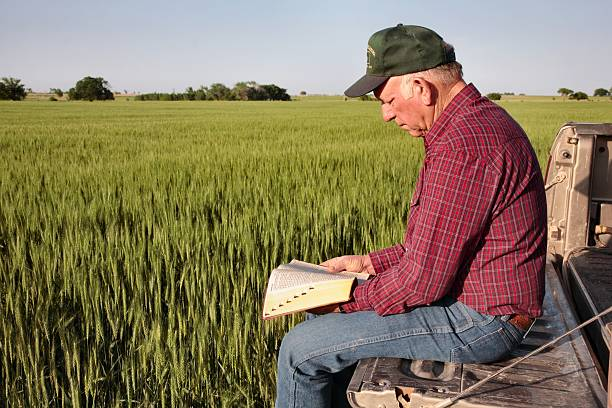 Agriculture: Farmer or rancher with Bible on tailgate in field stock photo