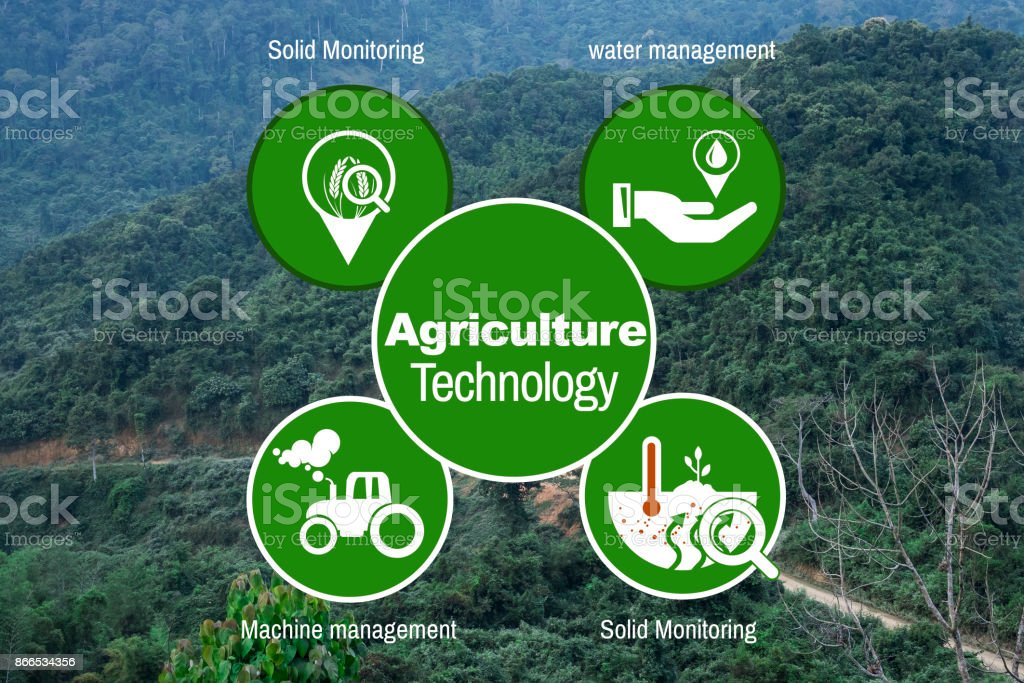 Agriculture Technology Agritech system icon on mountain roads Trekking,Muang yong, Loas stock photo