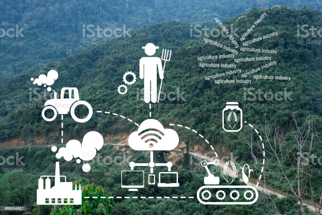 Agriculture Technology concept Agritech system icon on mountain roads ,Muang yong, Loas stock photo