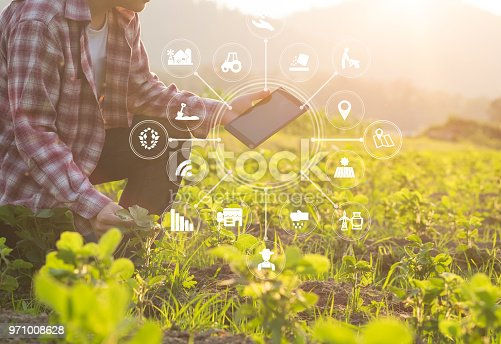 istock Agriculture technology farmer man using tablet computer analysis data and visual icon. 971008628