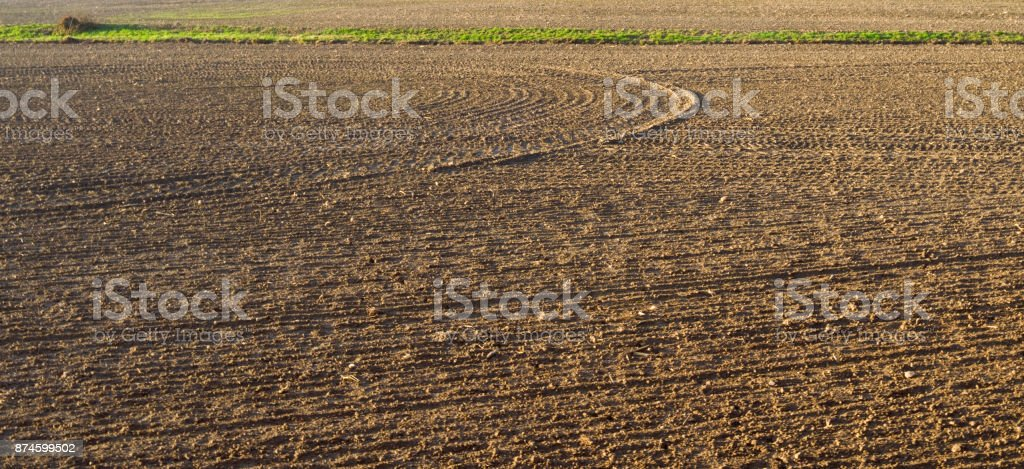 Agriculture: Tractor tracks on arable soil stock photo