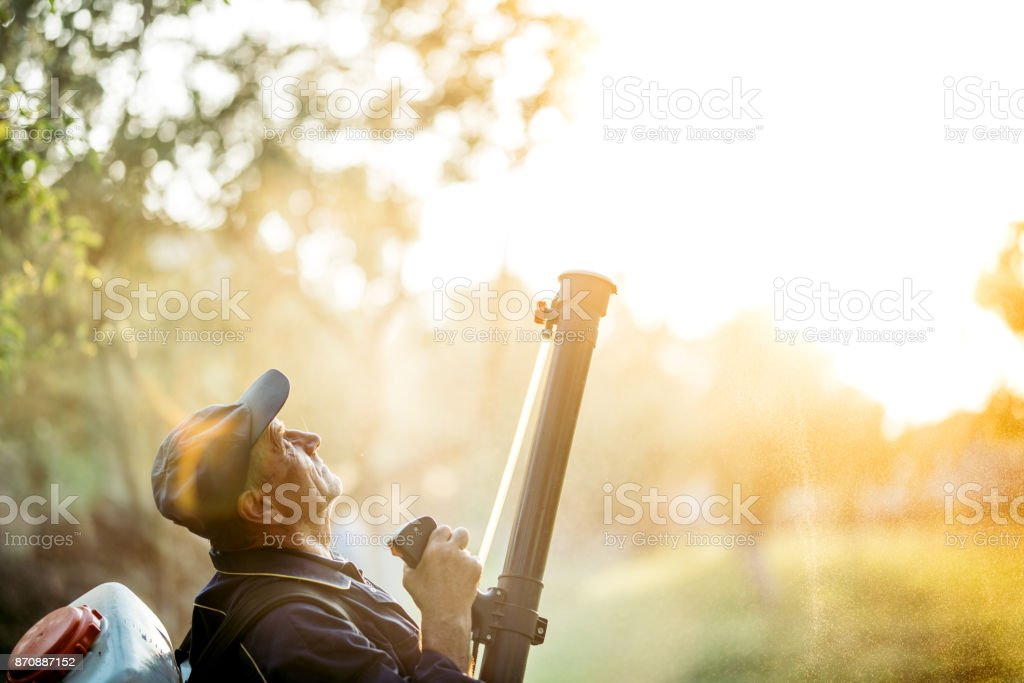 Agriculture worker farmer spraying organic pesticides on fruit growing plantation stock photo