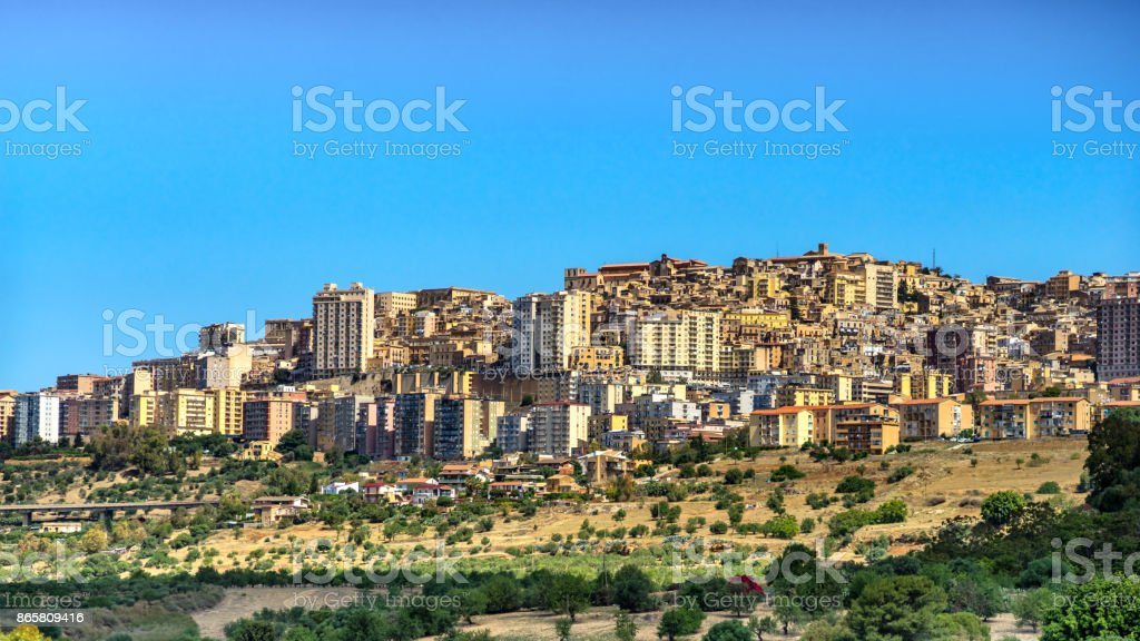 Agrigento, Sicily. View on the town of Agrigento from Temples Valley. Cityscape of the italian city stock photo