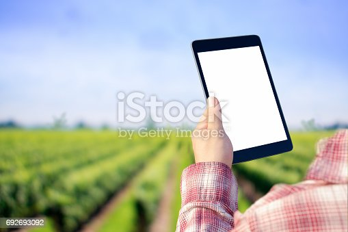 1047941544istockphoto Agronomist Using a Tablet in an agriculture Field. 692693092