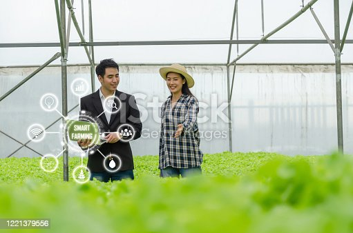 1047941544 istock photo agronomist woman asian farmer checking fresh green oak lettuce salad, organic hydroponic vegetable with laptop in greenhouse garden nursery farm with visual icon, smart farming, agriculture concept 1221379556