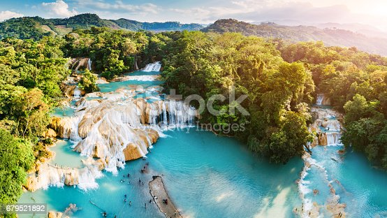 Aerial view of Agua Azul Waterfalls in Chiapas Mexico