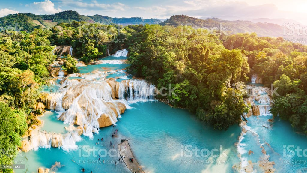 Agua Azul Waterfalls in Chiapas Mexico stock photo