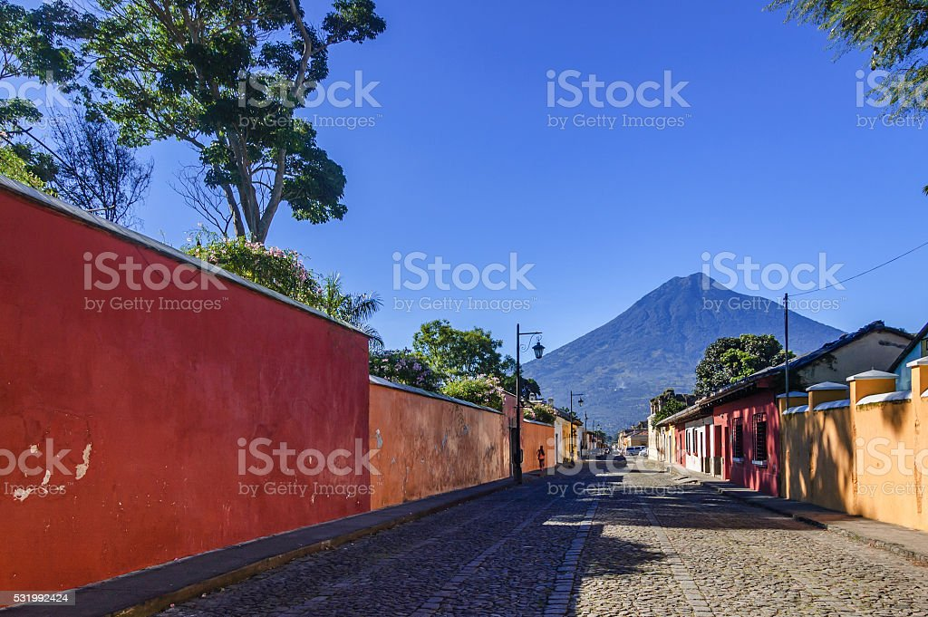 Agua volcano & colonial street, Antigua, Guatemala stock photo