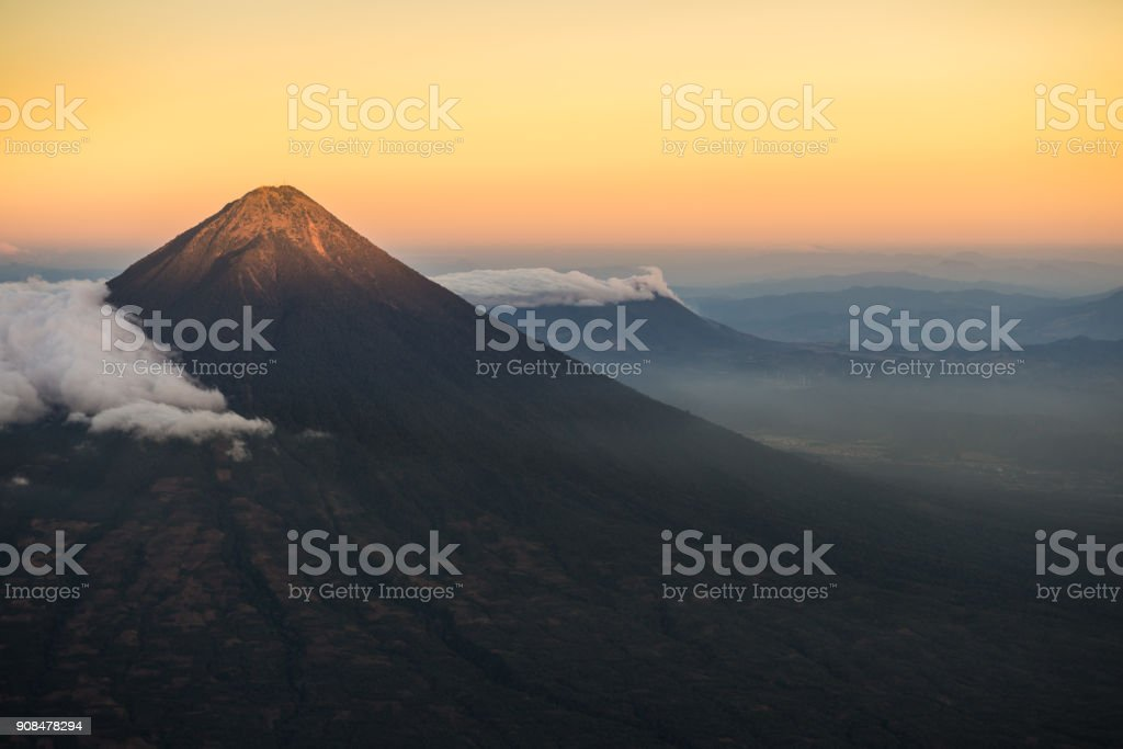Agua volcano sunset stock photo