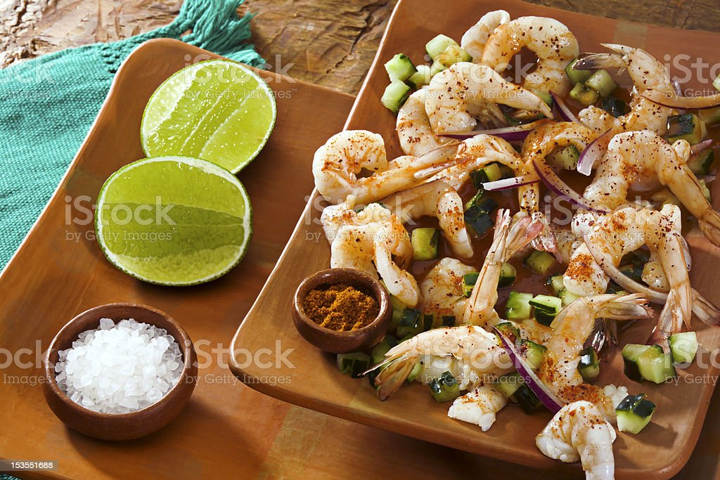 Aguachile Shrimp stock photo