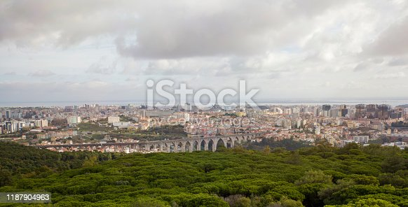 Aguas livres Aqueduct in Lisbon view from Monsanto