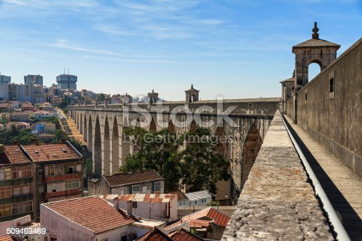 Beautiful view from the Aguas Livres Aqueduct on a summer day in Lisbon, Portugal