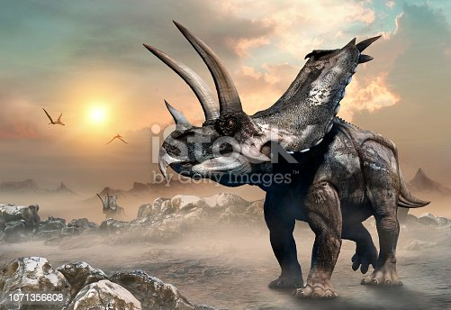 Agujaceratops from the Cretaceous scene 3D illustration