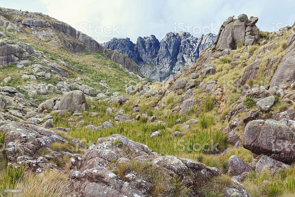 Agulhas Negras (black needles) mountain in Itatiaia National Par stock photo