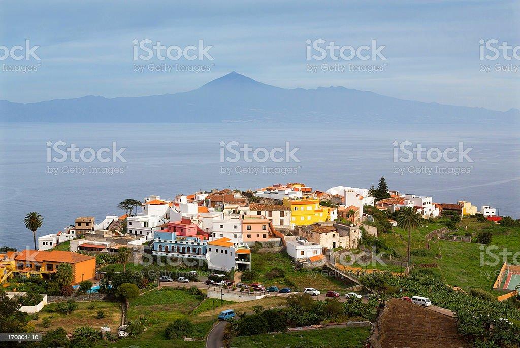 Agulo town and vulcano Teide, Canary Islands stock photo