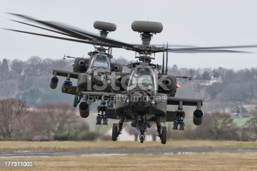 A pair of AAC AgustaWestland Apache's posing for the camera.