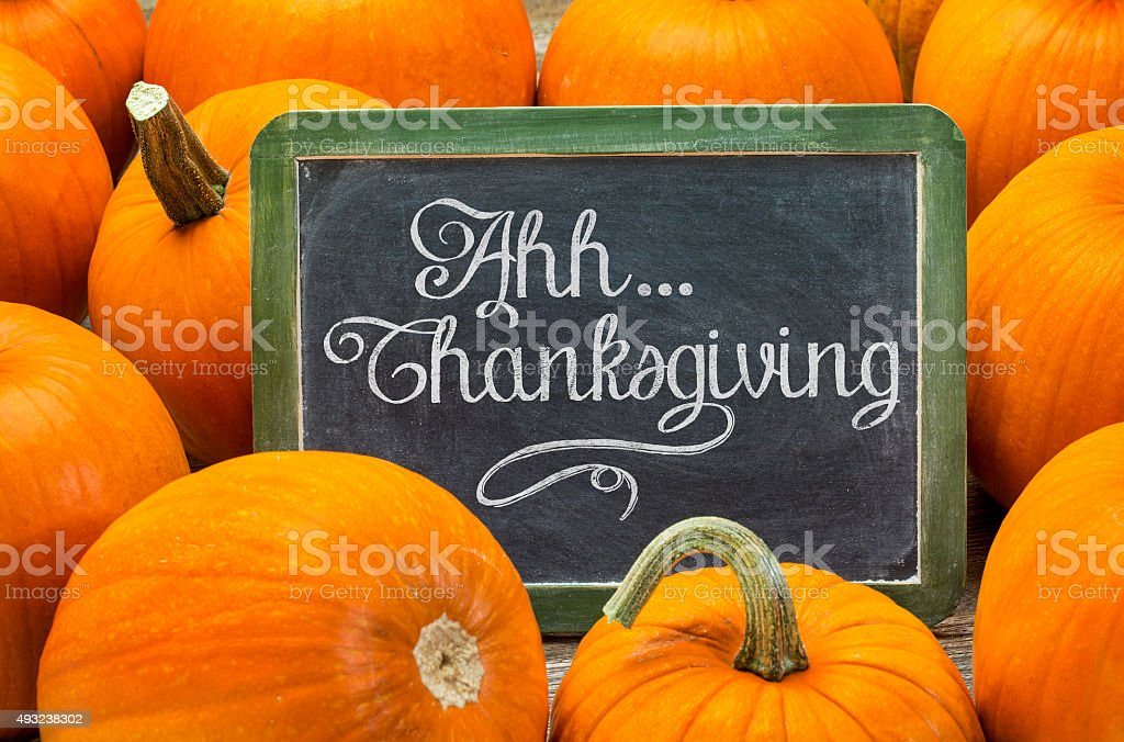 Ahh ... Thanksgiving sign on blackboard stock photo