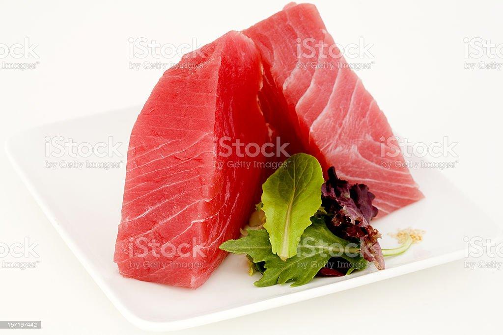 Ahi e salada de folhas verdes - foto de acervo